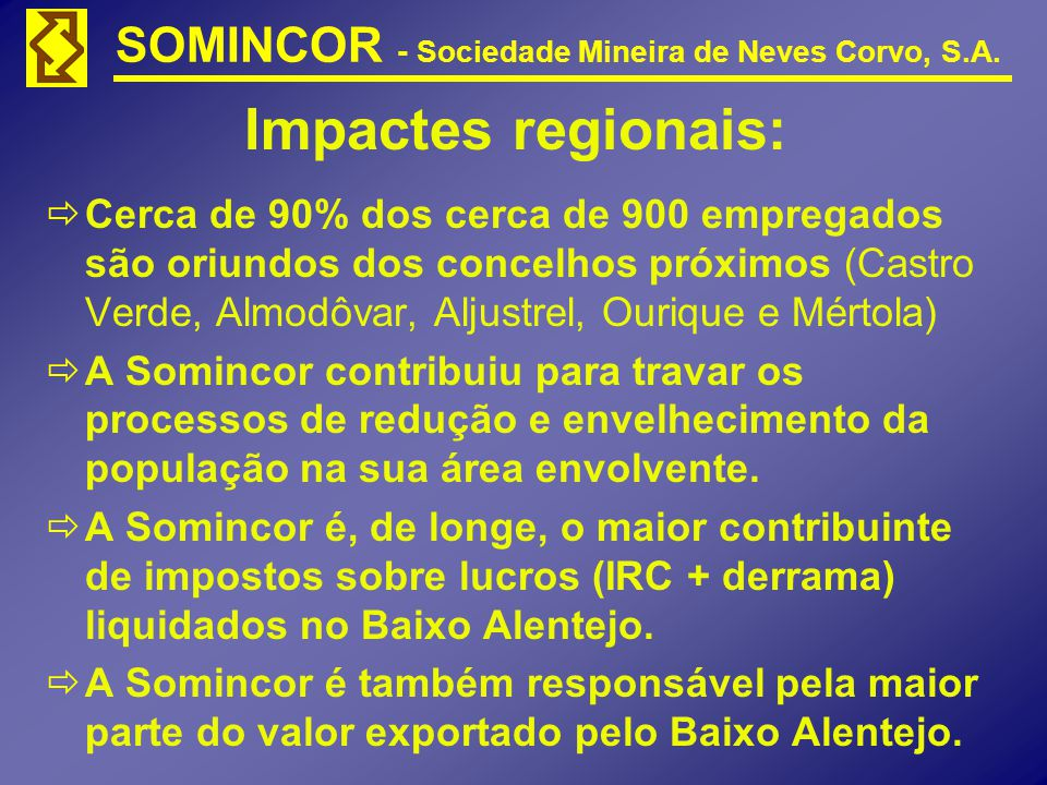 SOMINCOR - Sociedade Mineira de Neves Corvo, S.A. Impactes regionais: Cerca de 90% dos cerca de 900 empregados são oriundos dos concelhos próximos (Ca