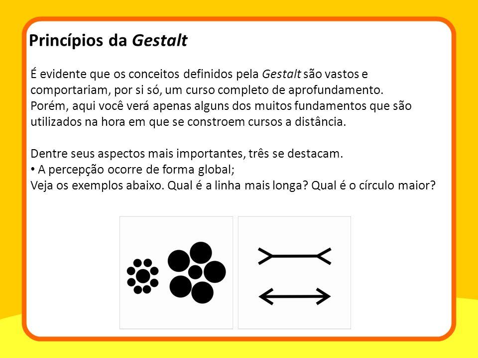 É evidente que os conceitos definidos pela Gestalt são vastos e comportariam, por si só, um curso completo de aprofundamento.