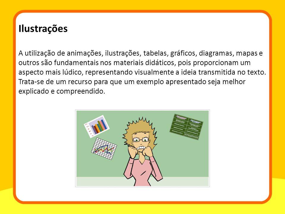 A utilização de animações, ilustrações, tabelas, gráficos, diagramas, mapas e outros são fundamentais nos materiais didáticos, pois proporcionam um aspecto mais lúdico, representando visualmente a ideia transmitida no texto.