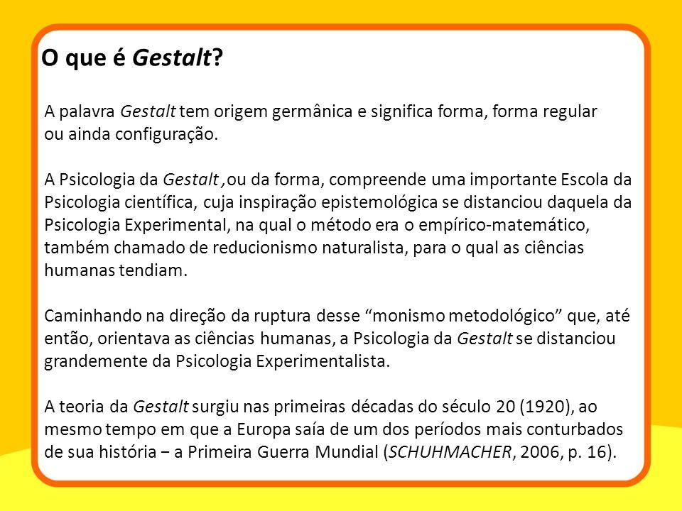 A palavra Gestalt tem origem germânica e significa forma, forma regular ou ainda configuração. A Psicologia da Gestalt,ou da forma, compreende uma imp
