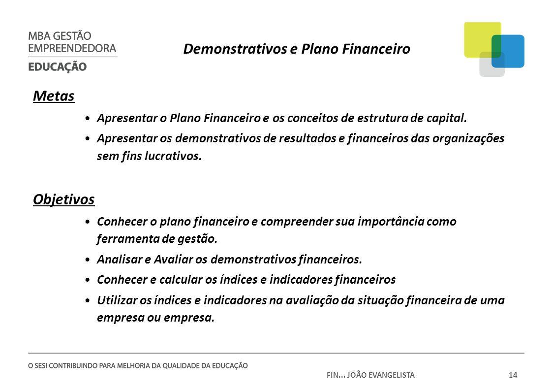 FIN... JOÃO EVANGELISTA14 Demonstrativos e Plano Financeiro Metas Apresentar o Plano Financeiro e os conceitos de estrutura de capital. Apresentar os