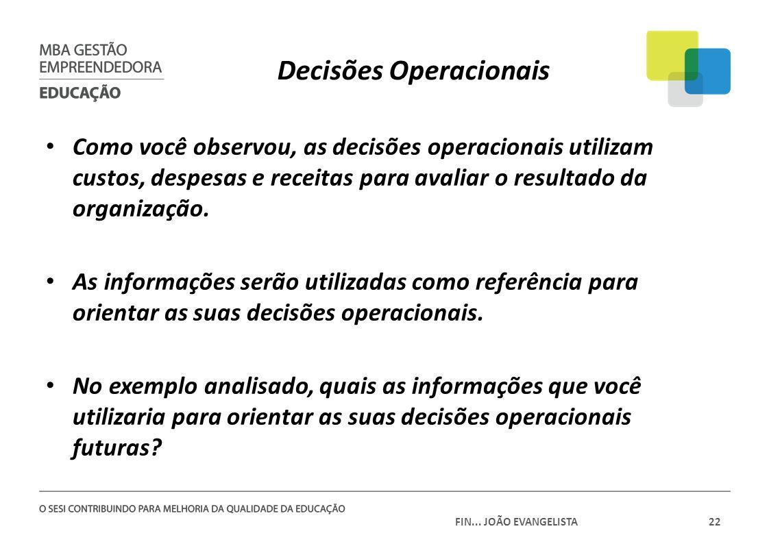 FIN... JOÃO EVANGELISTA22 Decisões Operacionais Como você observou, as decisões operacionais utilizam custos, despesas e receitas para avaliar o resul