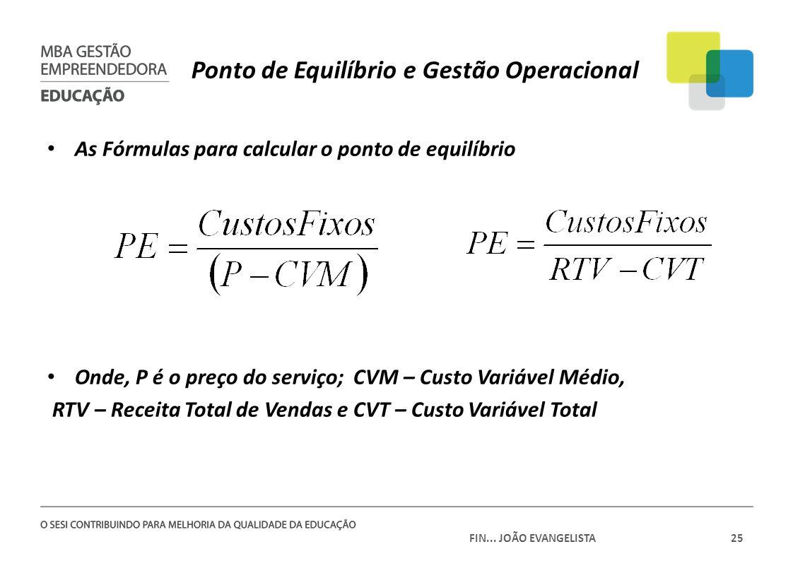 FIN... JOÃO EVANGELISTA25 Ponto de Equilíbrio e Gestão Operacional As Fórmulas para calcular o ponto de equilíbrio Onde, P é o preço do serviço; CVM –