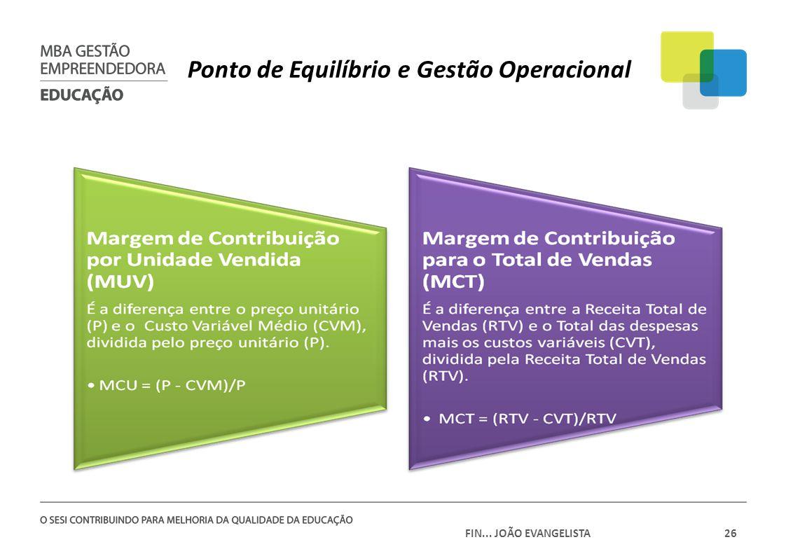 FIN... JOÃO EVANGELISTA26 Ponto de Equilíbrio e Gestão Operacional