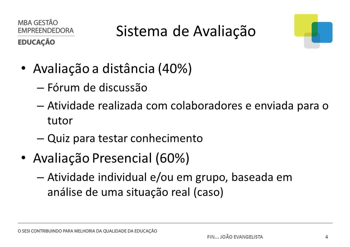 FIN... JOÃO EVANGELISTA4 Avaliação a distância (40%) – Fórum de discussão – Atividade realizada com colaboradores e enviada para o tutor – Quiz para t