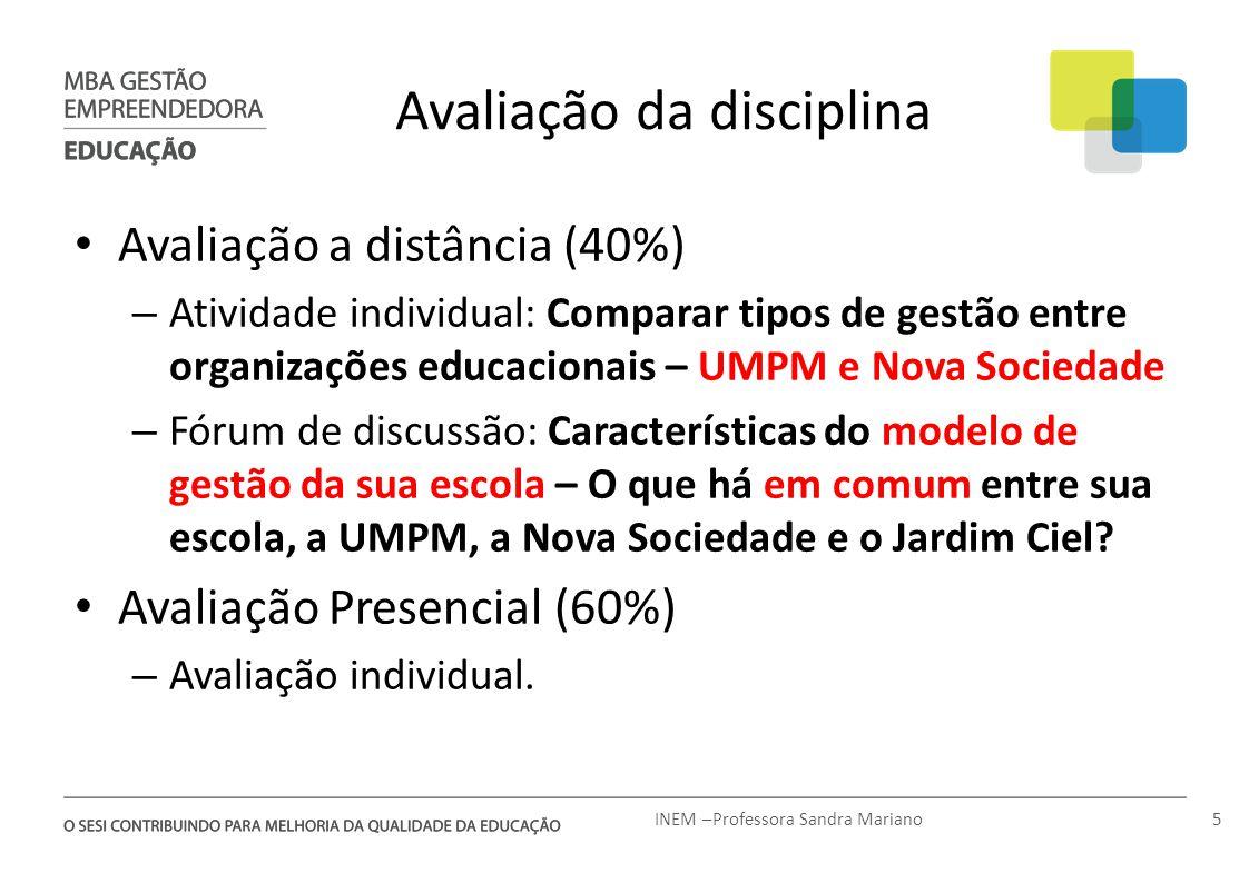 Avaliação da disciplina Avaliação a distância (40%) – Atividade individual: Comparar tipos de gestão entre organizações educacionais – UMPM e Nova Soc