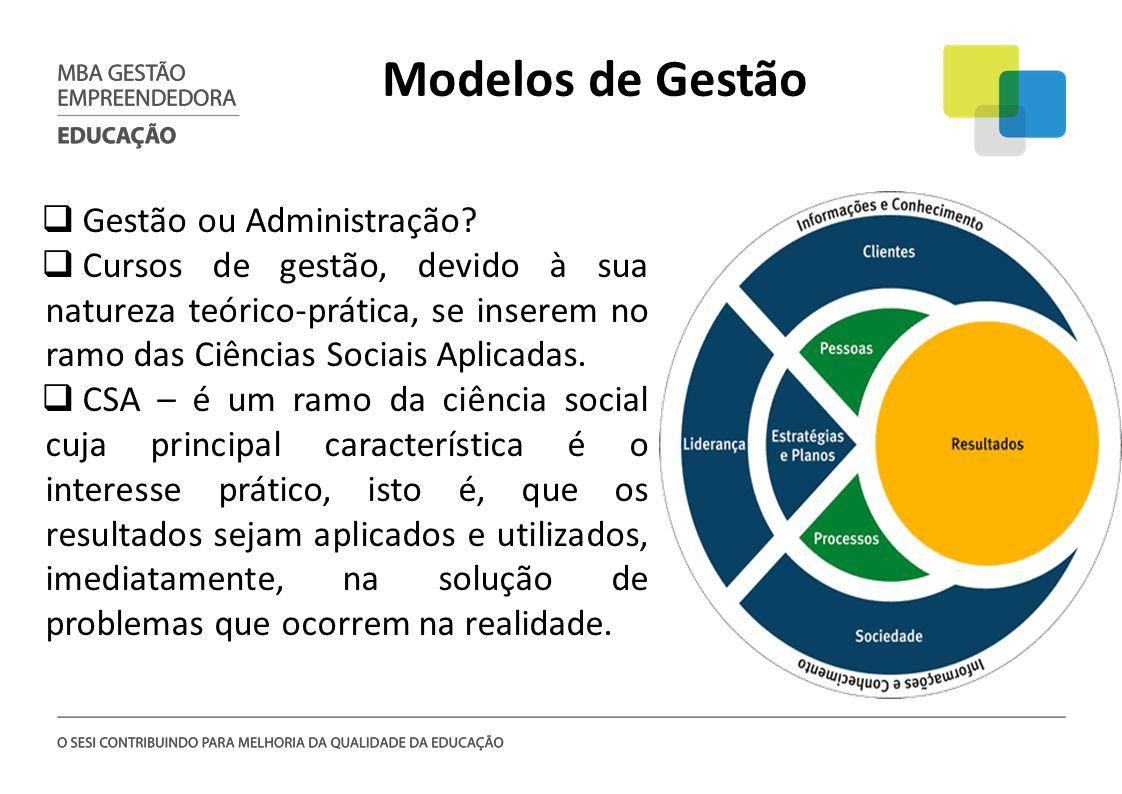 Modelos de Gestão Gestão ou Administração? Cursos de gestão, devido à sua natureza teórico-prática, se inserem no ramo das Ciências Sociais Aplicadas.
