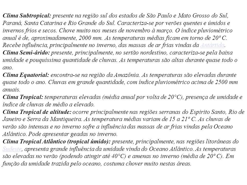 Clima Subtropical: presente na região sul dos estados de São Paulo e Mato Grosso do Sul, Paraná, Santa Catarina e Rio Grande do Sul. Caracteriza-se po