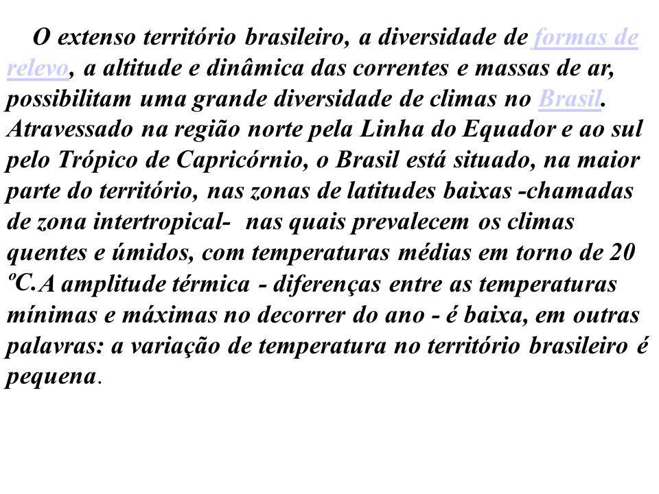 O extenso território brasileiro, a diversidade de formas de relevo, a altitude e dinâmica das correntes e massas de ar, possibilitam uma grande divers