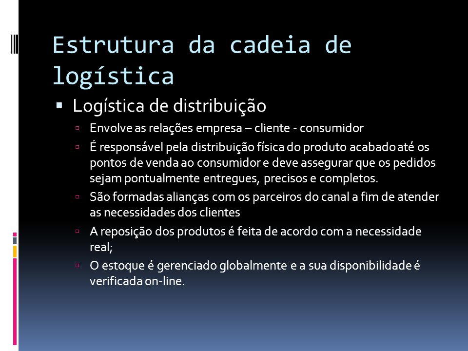Estrutura da cadeia de logística Logística de distribuição Envolve as relações empresa – cliente - consumidor É responsável pela distribuição física d