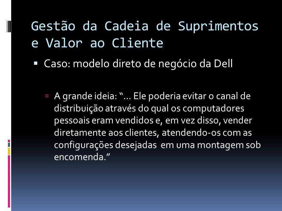 Gestão da Cadeia de Suprimentos e Valor ao Cliente Caso: modelo direto de negócio da Dell A grande ideia:... Ele poderia evitar o canal de distribuiçã