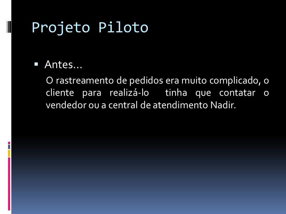 Projeto Piloto Antes... O rastreamento de pedidos era muito complicado, o cliente para realizá-lo tinha que contatar o vendedor ou a central de atendi