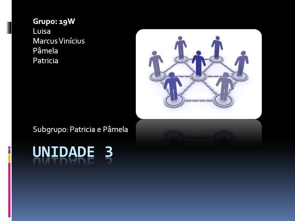 Grupo: 19W Luisa Marcus Vinícius Pâmela Patricia Subgrupo: Patricia e Pâmela