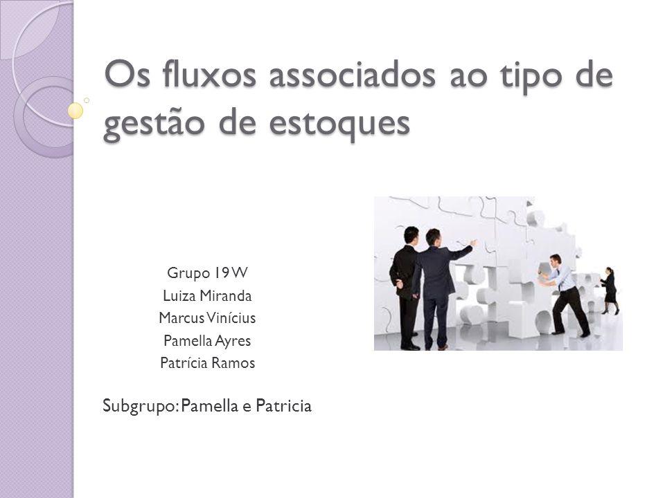 Os fluxos associados ao tipo de gestão de estoques Grupo 19 W Luiza Miranda Marcus Vinícius Pamella Ayres Patrícia Ramos Subgrupo: Pamella e Patricia
