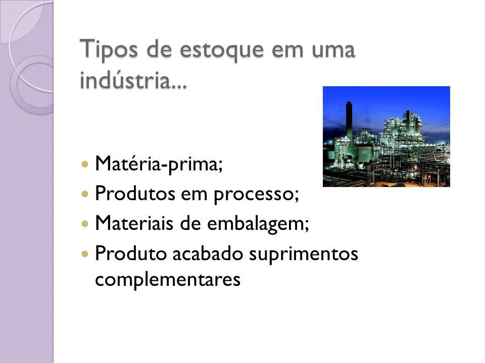 Tipos de estoque em uma indústria... Matéria-prima; Produtos em processo; Materiais de embalagem; Produto acabado suprimentos complementares