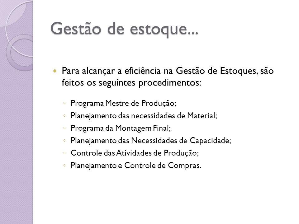 Gestão de estoque... Para alcançar a eficiência na Gestão de Estoques, são feitos os seguintes procedimentos: Programa Mestre de Produção; Planejament