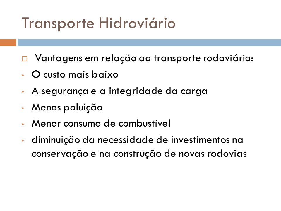 Transporte Hidroviário Vantagens em relação ao transporte rodoviário: O custo mais baixo A segurança e a integridade da carga Menos poluição Menor consumo de combustível diminuição da necessidade de investimentos na conservação e na construção de novas rodovias
