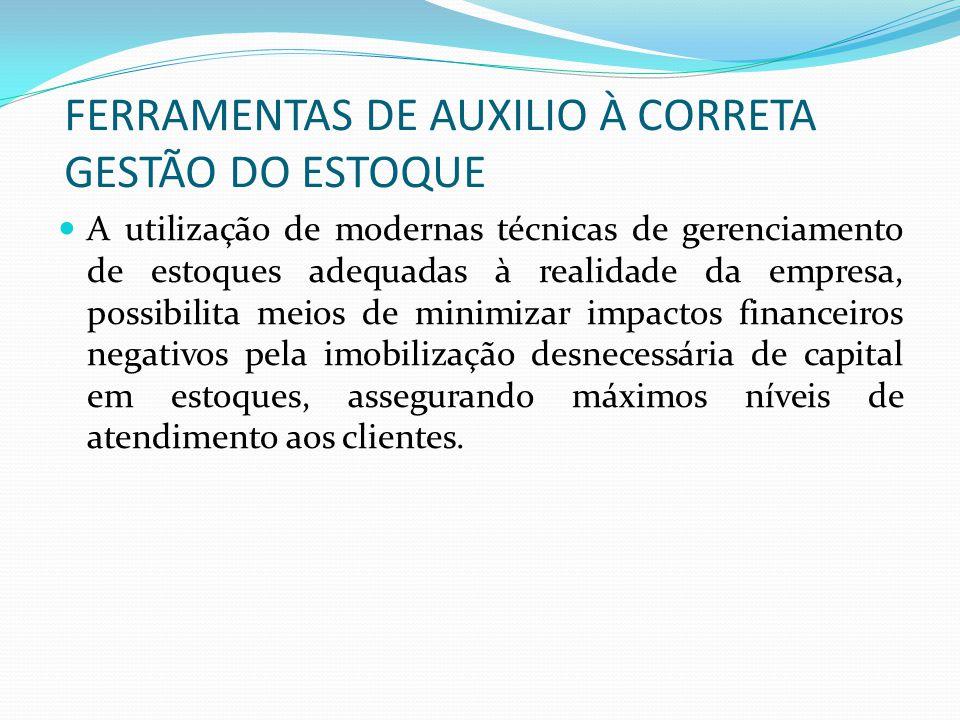 FERRAMENTAS DE AUXILIO À CORRETA GESTÃO DO ESTOQUE A utilização de modernas técnicas de gerenciamento de estoques adequadas à realidade da empresa, po