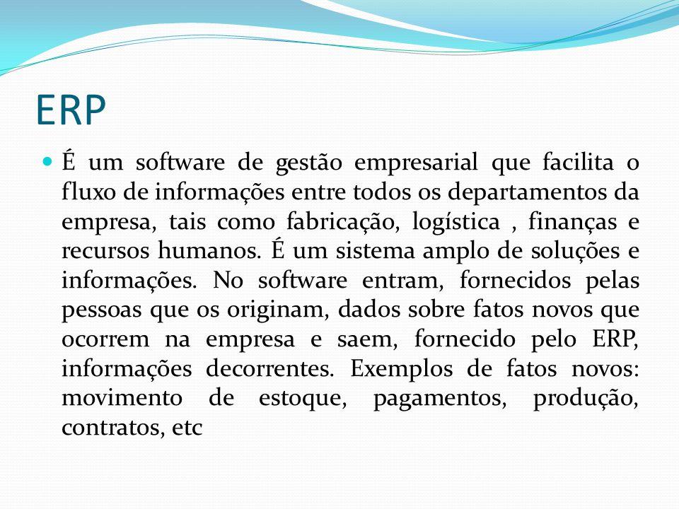 ERP É um software de gestão empresarial que facilita o fluxo de informações entre todos os departamentos da empresa, tais como fabricação, logística,