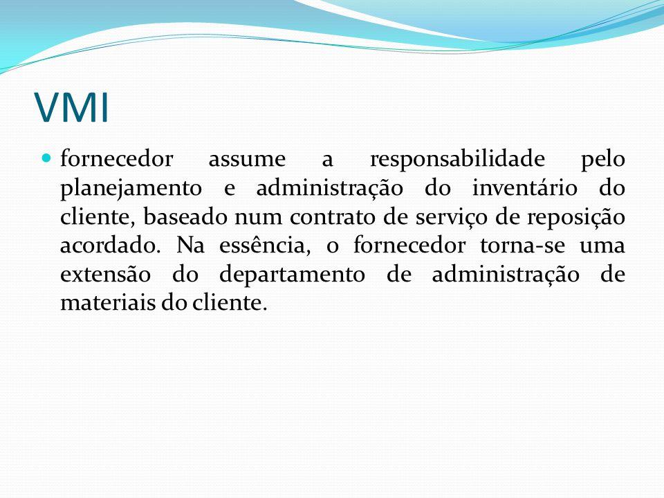 VMI fornecedor assume a responsabilidade pelo planejamento e administração do inventário do cliente, baseado num contrato de serviço de reposição acor