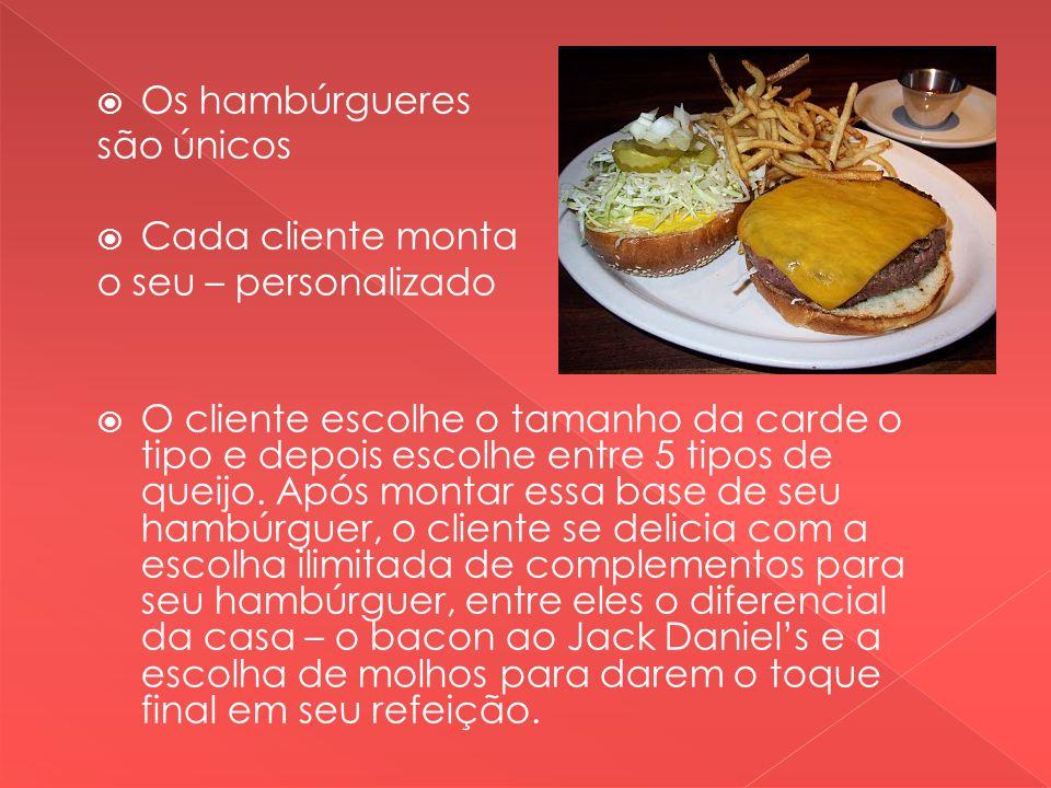 Os hambúrgueres são únicos Cada cliente monta o seu – personalizado O cliente escolhe o tamanho da carde o tipo e depois escolhe entre 5 tipos de queijo.