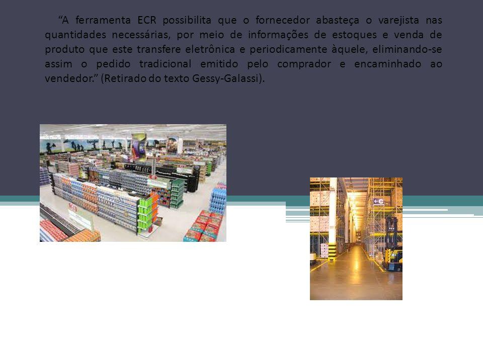 Um exemplo de empresa que utiliza O ECR é o Wal- Mart, que foi uma das primeiras empresas a adotar computadores para monitorar as vendas das lojas e os estoques, assim como foi a pioneira no desenvolvimento de uma rede informatizada para compartilhar esses dados com seus fornecedores.