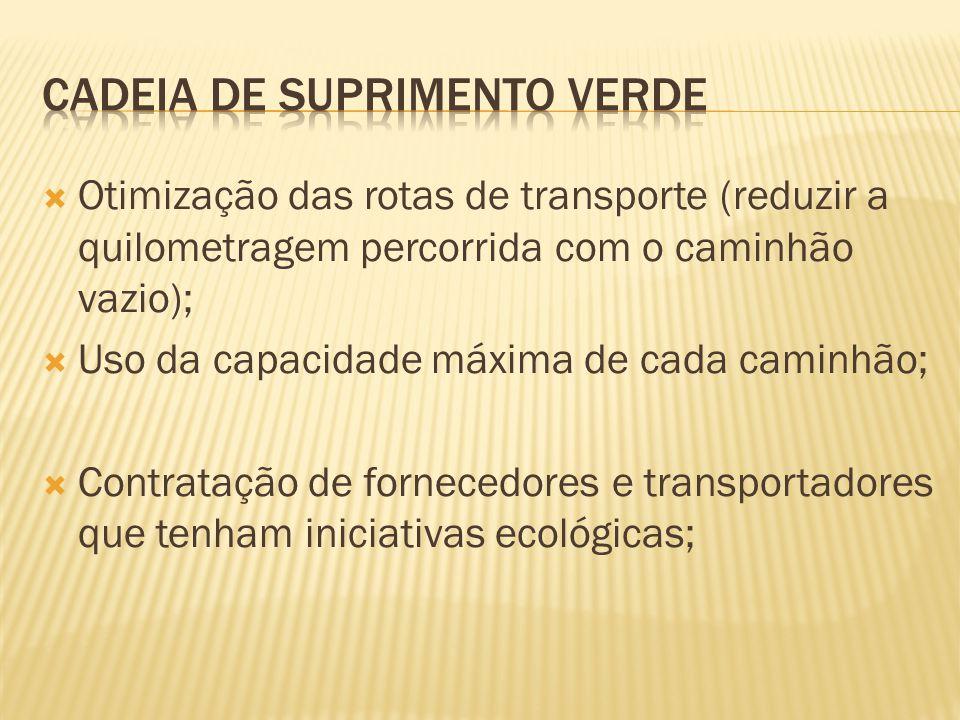 Otimização das rotas de transporte (reduzir a quilometragem percorrida com o caminhão vazio); Uso da capacidade máxima de cada caminhão; Contratação de fornecedores e transportadores que tenham iniciativas ecológicas;