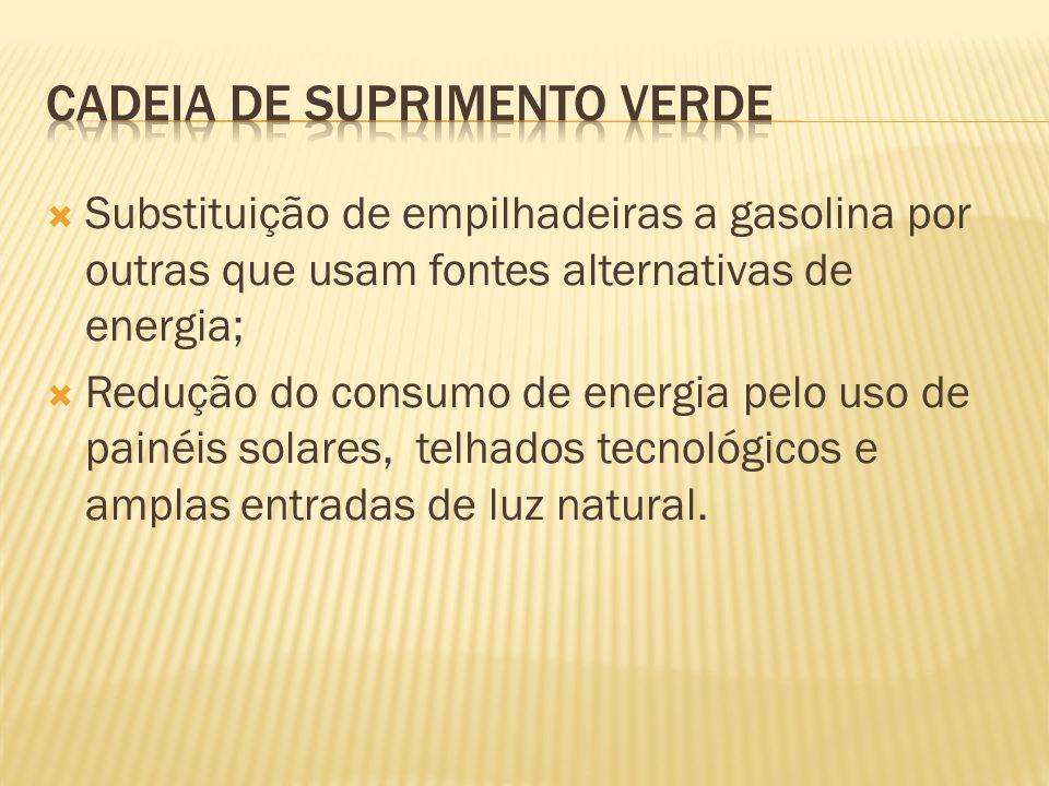 Substituição de empilhadeiras a gasolina por outras que usam fontes alternativas de energia; Redução do consumo de energia pelo uso de painéis solares, telhados tecnológicos e amplas entradas de luz natural.