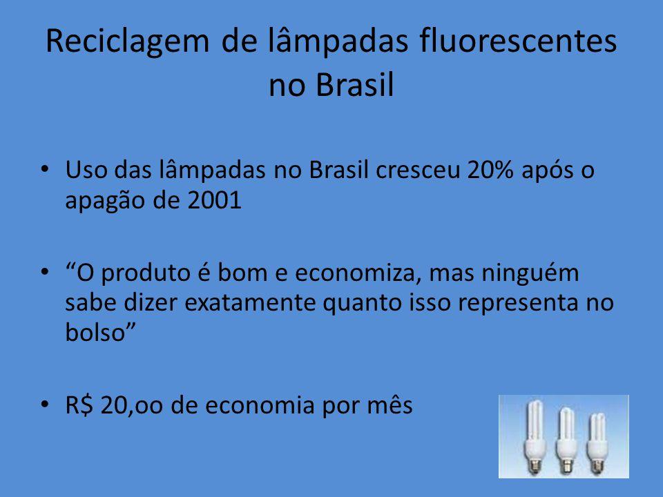 Reciclagem de lâmpadas fluorescentes no Brasil Uso das lâmpadas no Brasil cresceu 20% após o apagão de 2001 O produto é bom e economiza, mas ninguém sabe dizer exatamente quanto isso representa no bolso R$ 20,oo de economia por mês