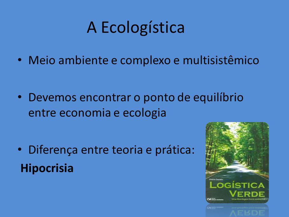 A Ecologística Meio ambiente e complexo e multisistêmico Devemos encontrar o ponto de equilíbrio entre economia e ecologia Diferença entre teoria e prática: Hipocrisia