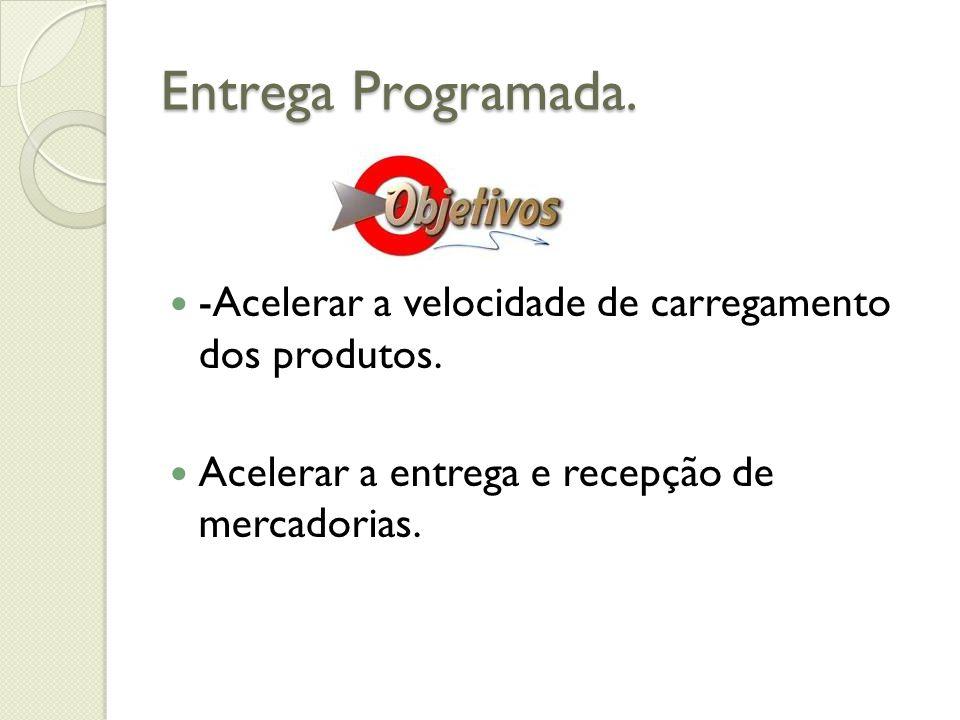 Entrega Programada. -Acelerar a velocidade de carregamento dos produtos. Acelerar a entrega e recepção de mercadorias.