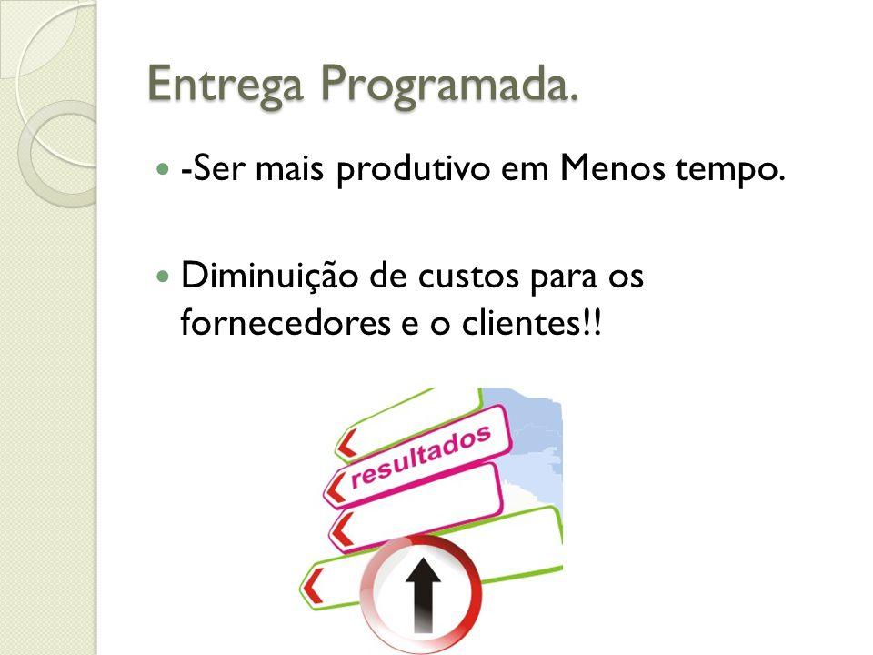 Entrega Programada. -Ser mais produtivo em Menos tempo. Diminuição de custos para os fornecedores e o clientes!!