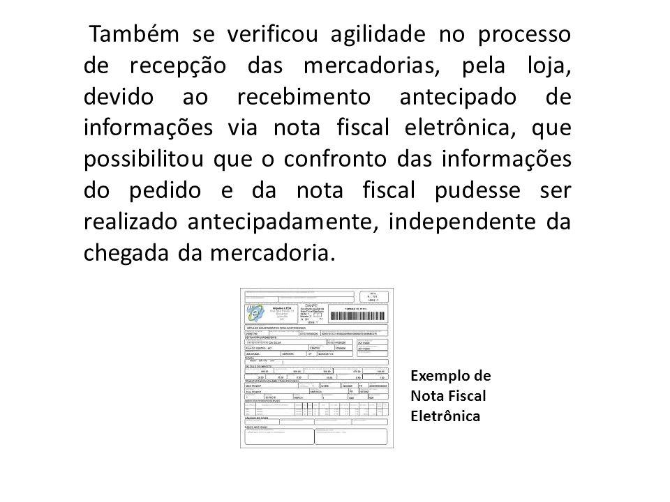 Também se verificou agilidade no processo de recepção das mercadorias, pela loja, devido ao recebimento antecipado de informações via nota fiscal elet