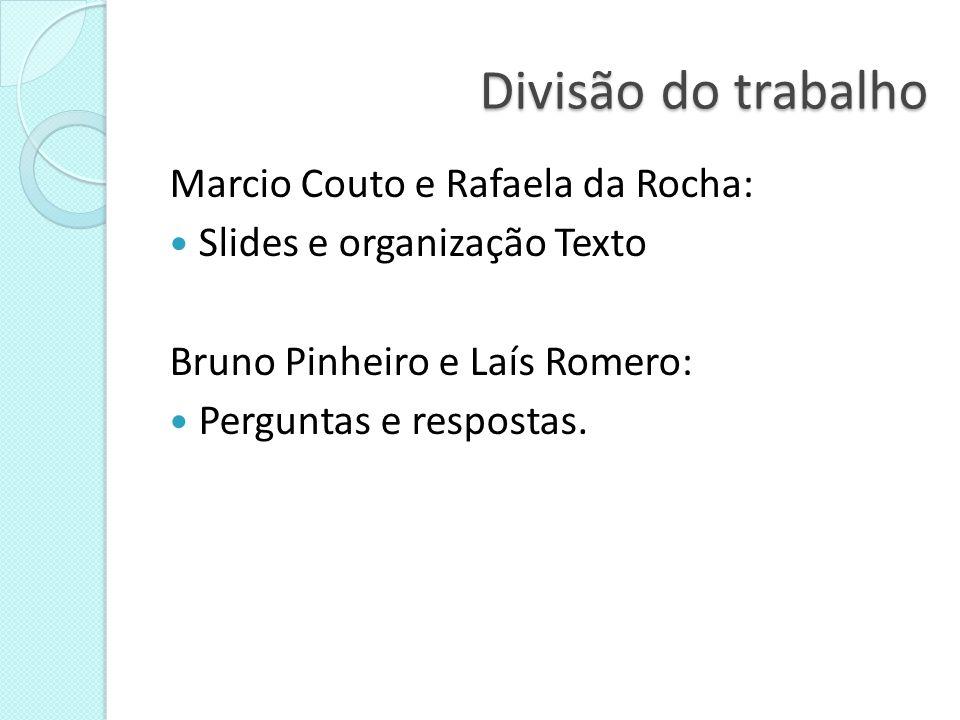 Divisão do trabalho Marcio Couto e Rafaela da Rocha: Slides e organização Texto Bruno Pinheiro e Laís Romero: Perguntas e respostas.