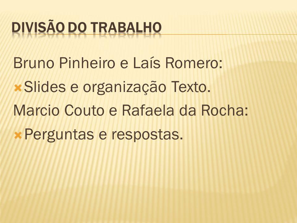 Bruno Pinheiro e Laís Romero: Slides e organização Texto.