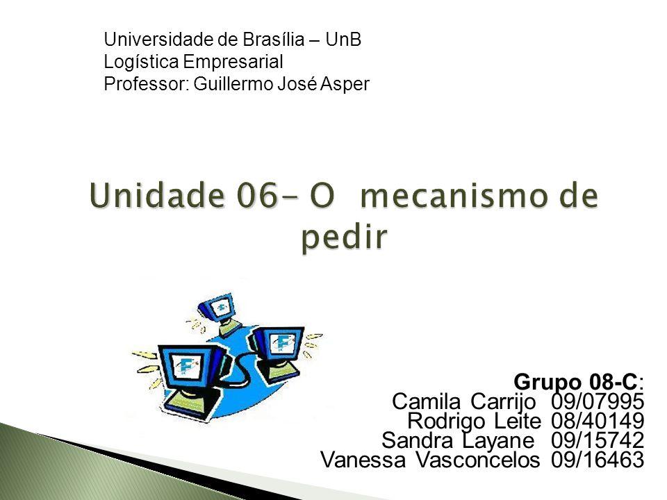 Unidade 06- O mecanismo de pedir Grupo 08-C: Camila Carrijo 09/07995 Rodrigo Leite 08/40149 Sandra Layane 09/15742 Vanessa Vasconcelos 09/16463 Univer