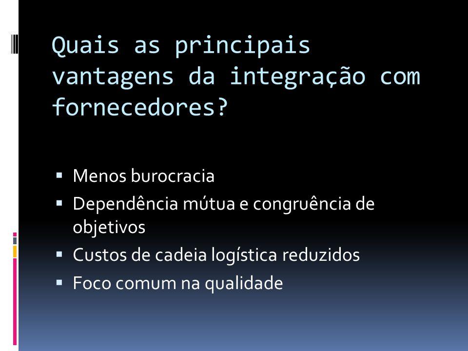 Quais as principais vantagens da integração com fornecedores.