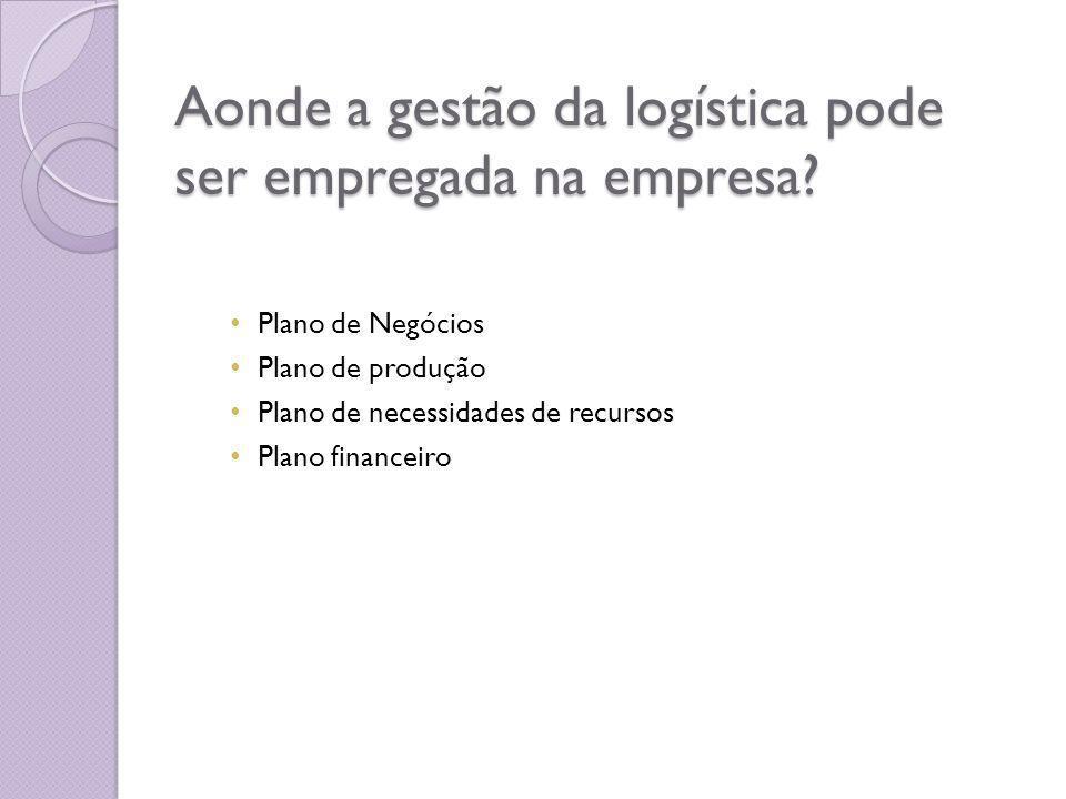 Aonde a gestão da logística pode ser empregada na empresa.
