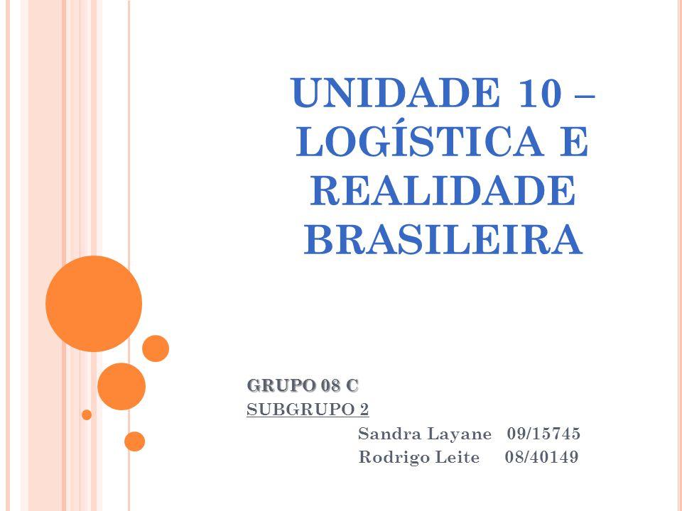 UNIDADE 10 – LOGÍSTICA E REALIDADE BRASILEIRA GRUPO 08 C SUBGRUPO 2 Sandra Layane 09/15745 Rodrigo Leite 08/40149