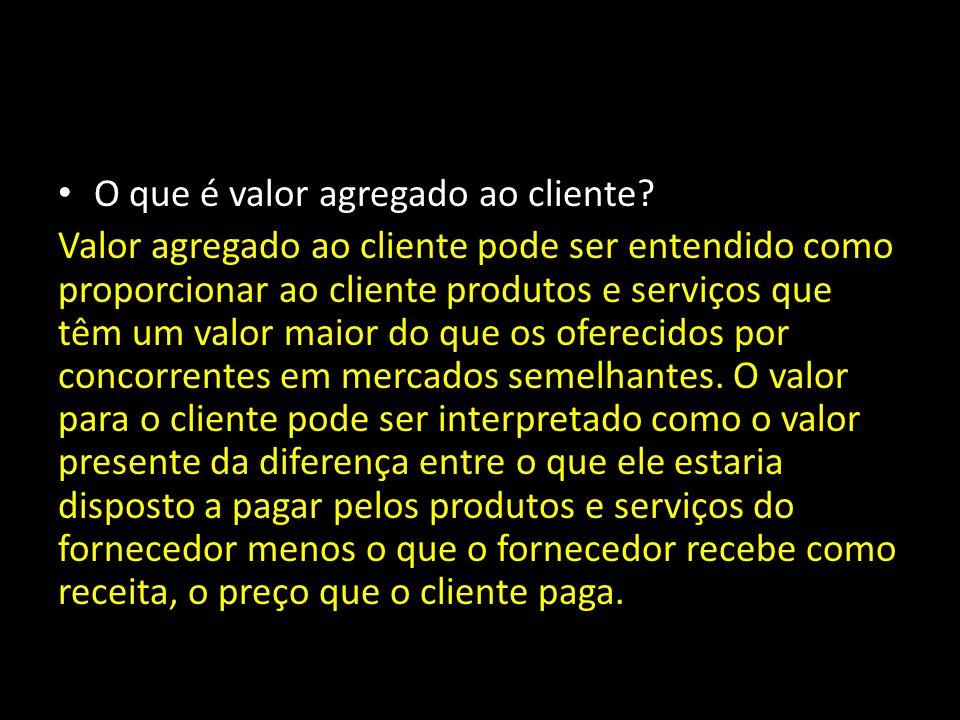 O que é valor agregado ao cliente.