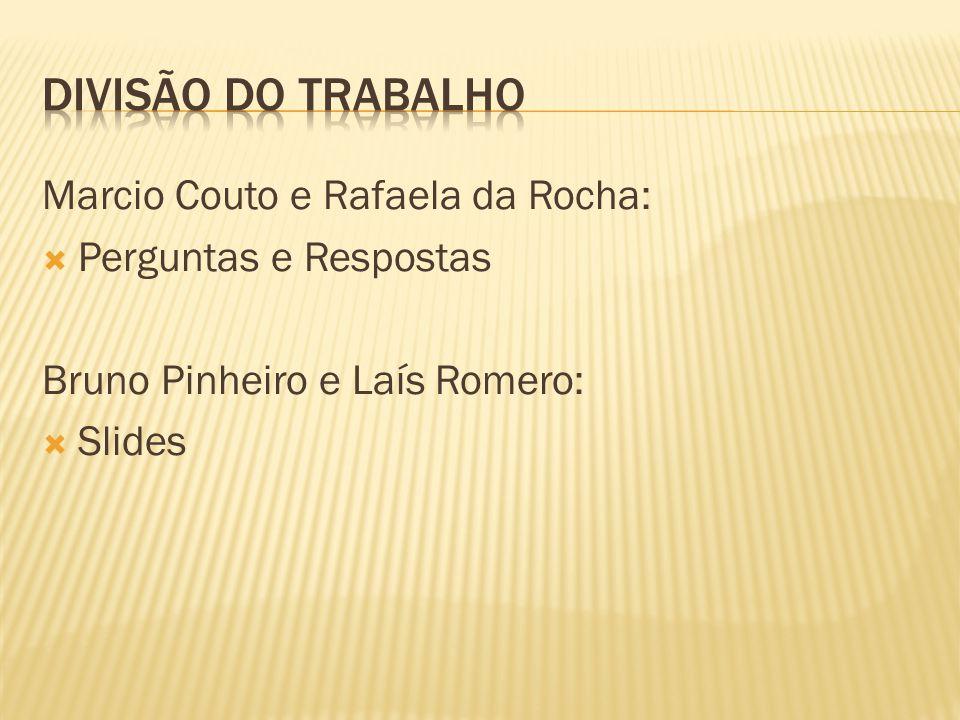 Marcio Couto e Rafaela da Rocha: Perguntas e Respostas Bruno Pinheiro e Laís Romero: Slides