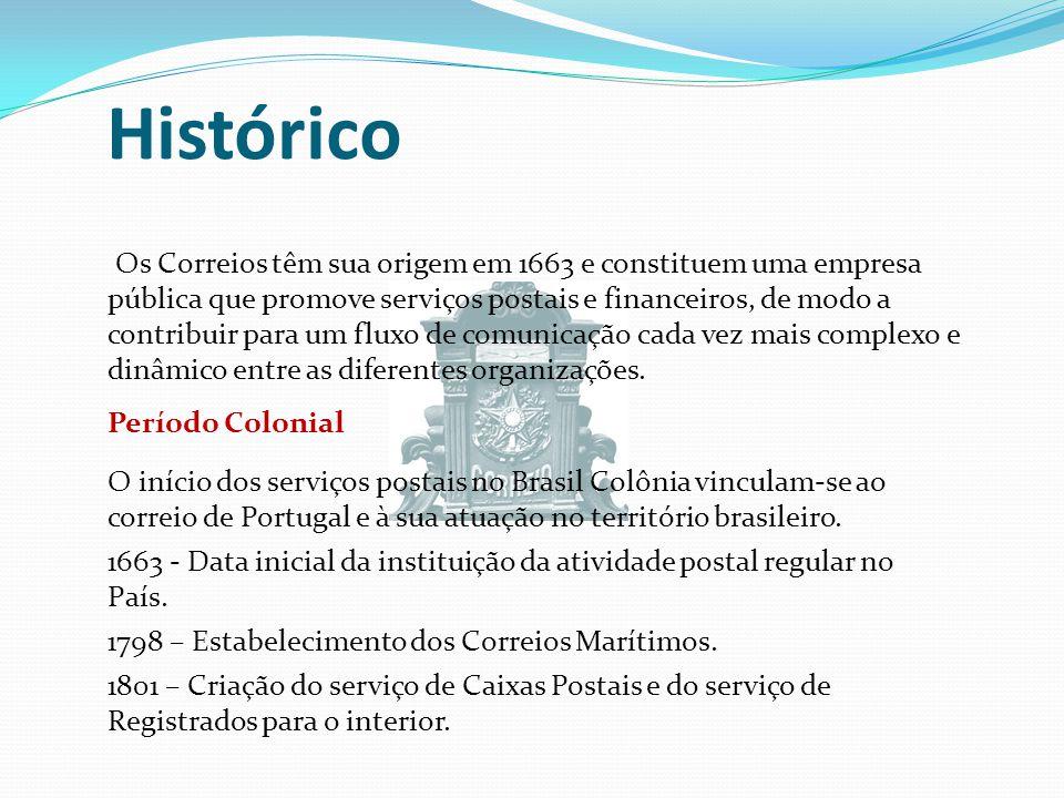 Histórico Os Correios têm sua origem em 1663 e constituem uma empresa pública que promove serviços postais e financeiros, de modo a contribuir para um