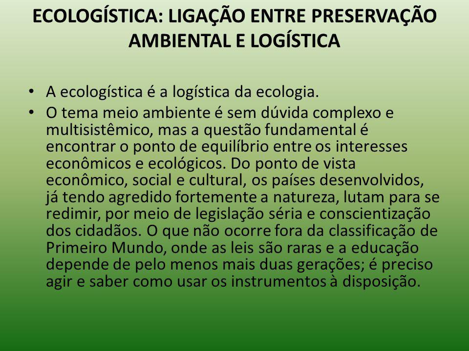 ECOLOGÍSTICA: LIGAÇÃO ENTRE PRESERVAÇÃO AMBIENTAL E LOGÍSTICA A ecologística é a logística da ecologia. O tema meio ambiente é sem dúvida complexo e m