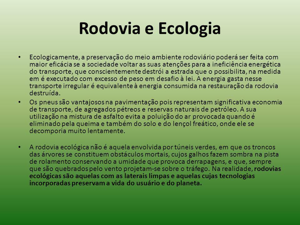 Rodovia e Ecologia Ecologicamente, a preservação do meio ambiente rodoviário poderá ser feita com maior eficácia se a sociedade voltar as suas atençõe