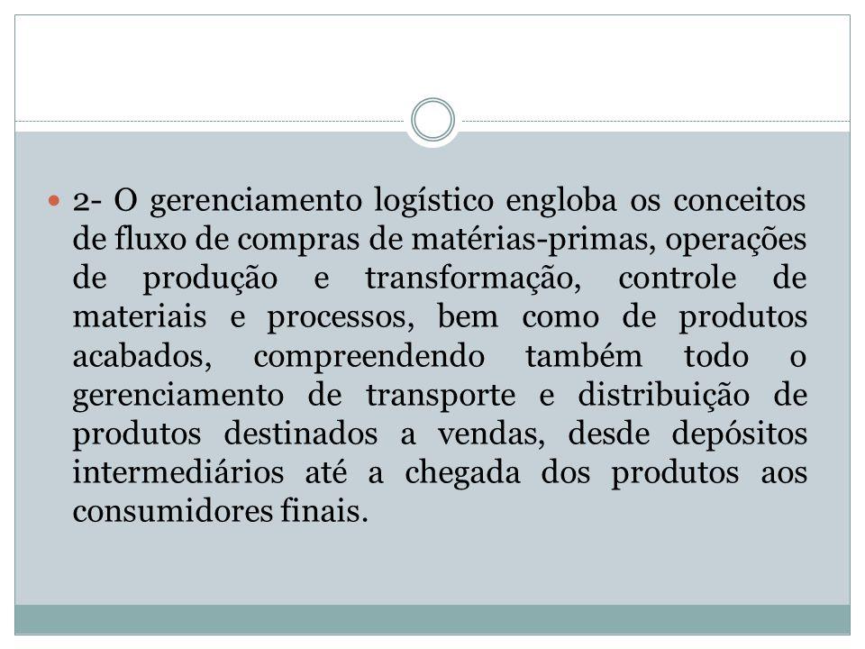 3 - A logística moderna visa ao atendimento de diferentes necessidades dos clientes, buscando níveis de serviços diferenciados.