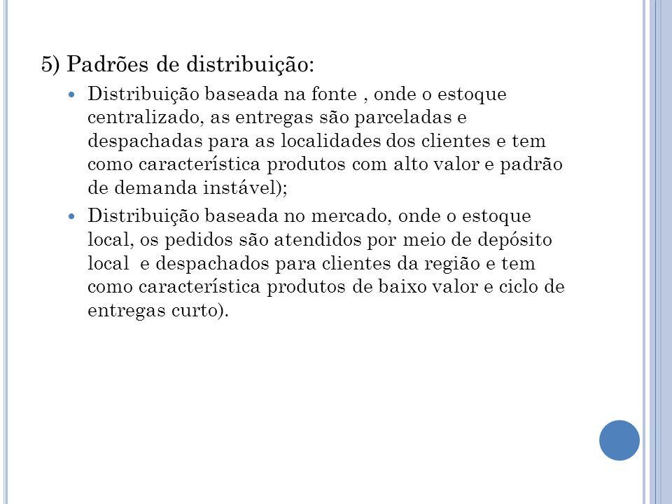 5) Padrões de distribuição: Distribuição baseada na fonte, onde o estoque centralizado, as entregas são parceladas e despachadas para as localidades d