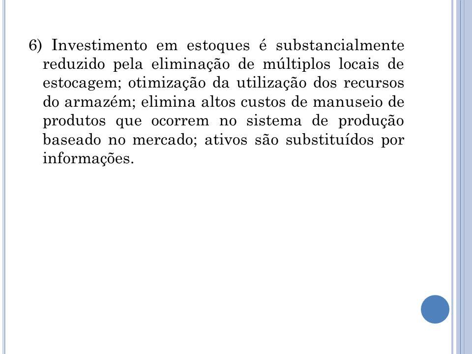 6) Investimento em estoques é substancialmente reduzido pela eliminação de múltiplos locais de estocagem; otimização da utilização dos recursos do arm