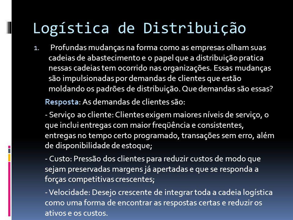 Logística de Distribuição 1. Profundas mudanças na forma como as empresas olham suas cadeias de abastecimento e o papel que a distribuição pratica nes