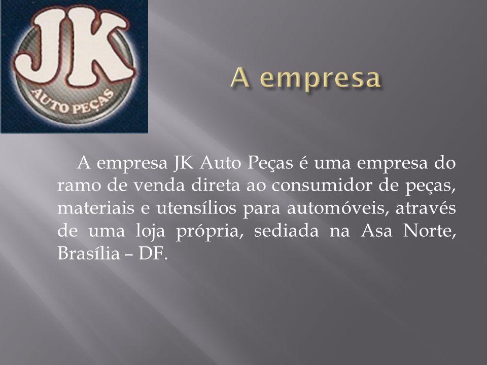 A empresa JK Auto Peças é uma empresa do ramo de venda direta ao consumidor de peças, materiais e utensílios para automóveis, através de uma loja próp
