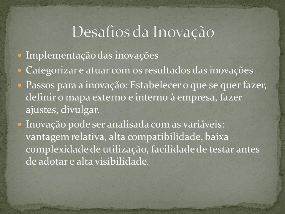 Implementação das inovações Categorizar e atuar com os resultados das inovações Passos para a inovação: Estabelecer o que se quer fazer, definir o mapa externo e interno à empresa, fazer ajustes, divulgar.